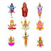 Indian Gods set, Shiva, Igny, Vishnu, Ganesha, Indra, Soma, Brahma, Surya, Yama god cartoon characters vector Illustrations isolated on a white background. poster
