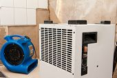 Elimination of water damage with fan and dryer poster