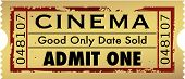 Vector grunge style admit one movie ticket stub poster