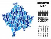 Vector population Kosovo map. Demography composition of Kosovo map combined of crowd with variable positions. Demographic map in blue tones. Abstract social scheme of national group cartography. poster