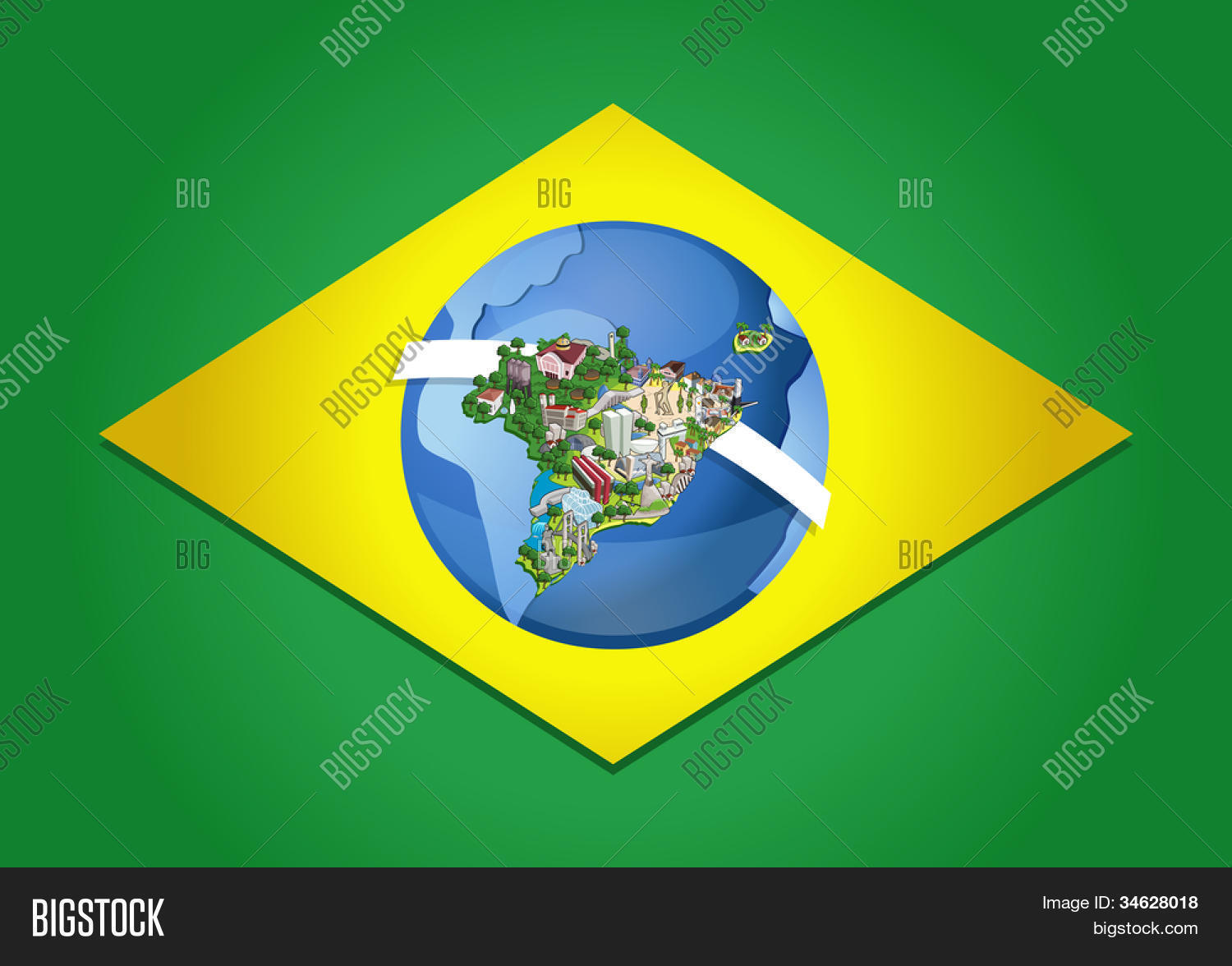 Flag brazil world map cities vector photo bigstock flag of brazil with world map cities of brazil gumiabroncs Image collections