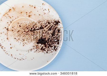 Coffee Grounds In A White Cup Ready For Fortune Telling, Destiny Reading Concept
