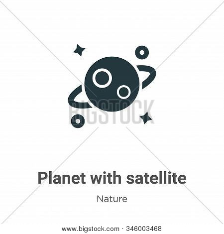 Planet with satellite icon isolated on white background from nature collection. Planet with satellit