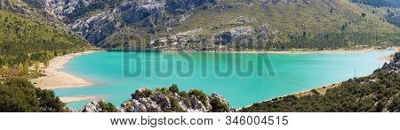 Gorg Blau, An Artificial Lake Located At The Valleys Of The Mountainous Part Of Mallorca, Spain