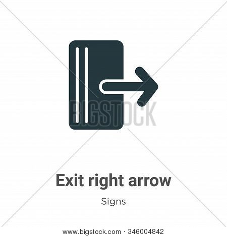 Exit right arrow icon isolated on white background from signs collection. Exit right arrow icon tren