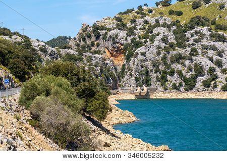 Water Dam, Gorg Blau, An Artificial Lake Located At Mallorca, Spain