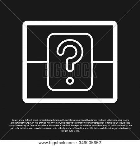 Black Mystery Box Or Random Loot Box For Games Icon Isolated On Black Background. Question Box. Vect