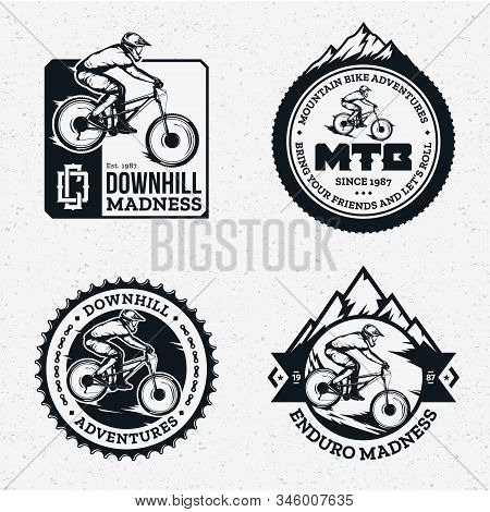 Vector Downhill Mountain Biking Badges