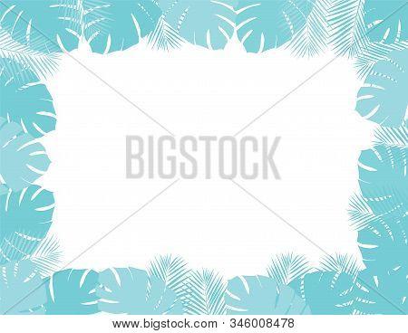Vector Illustration Of Palm Leaves Frame. Aqua Menthe Leaves Background.