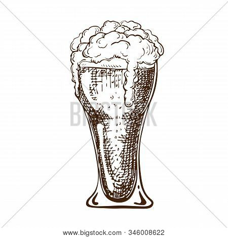 Vector Hand Drawn Pint Of Beer Full Of Wheat Beer With Foam. Beautiful Vintage Beer Mug Or Glass Wit