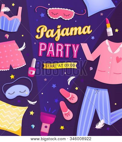 Pajama Partys Invitation Flyer. Night Time For Kids And Parents, Nightwear, Pillows, Fun. Poster For