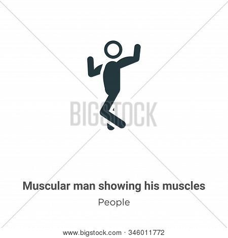 Muscular Man Showing His Muscles Vector Icon On White Background. Flat Vector Muscular Man Showing H
