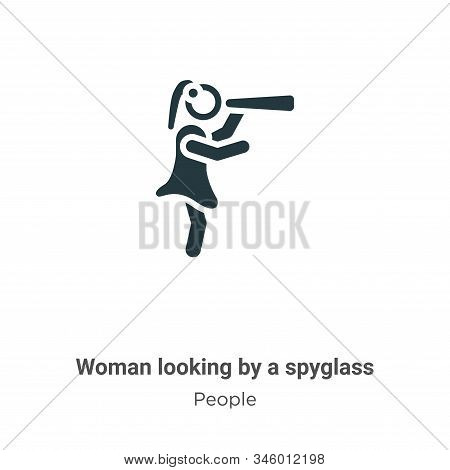 Woman looking by a spyglass icon isolated on white background from people collection. Woman looking