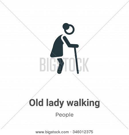 Old lady walking icon isolated on white background from people collection. Old lady walking icon tre