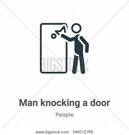 Man Knocking A Door Vector Icon On White Background. Flat Vector Man Knocking A Door Icon Symbol Sig