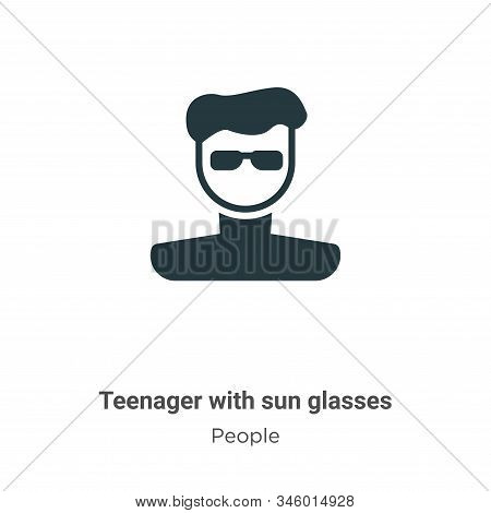 Teenager with sun glasses icon isolated on white background from people collection. Teenager with su