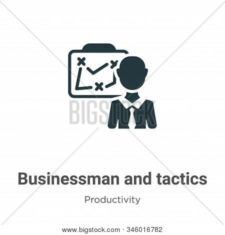 Businessman And Tactics Vector Icon On White Background. Flat Vector Businessman And Tactics Icon Sy
