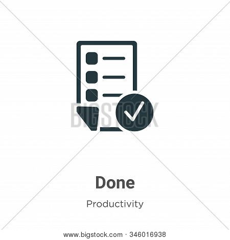Done icon isolated on white background from productivity collection. Done icon trendy and modern Don