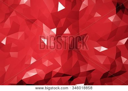 Repeat Geometric Triangle Mosaic Red, Visualization 3D Render Abstraction Pattern, Nice Background T
