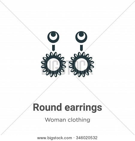 Round Earrings Vector Icon On White Background. Flat Vector Round Earrings Icon Symbol Sign From Mod