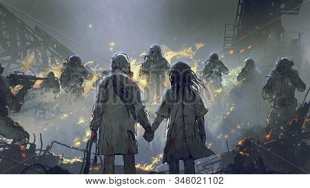 Lovers Holding Hands Looking At Soldiers In The Rainy Night, Digital Art Style, Illustration Paintin