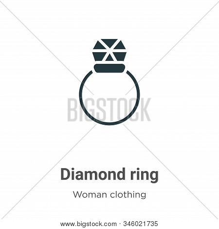 Diamond ring icon isolated on white background from woman clothing collection. Diamond ring icon tre