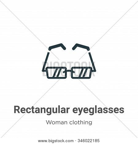 Rectangular eyeglasses icon isolated on white background from woman clothing collection. Rectangular
