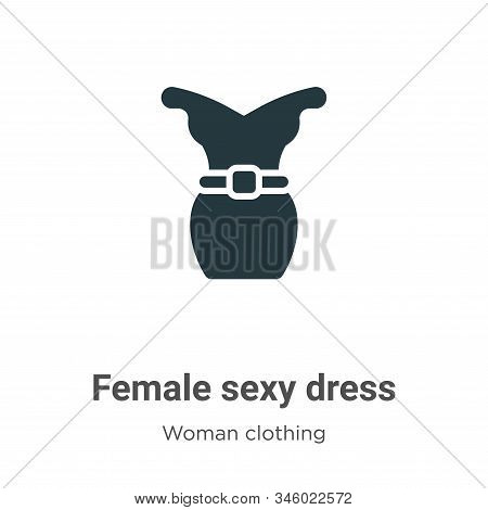 Female Sexy Dress Vector Icon On White Background. Flat Vector Female Sexy Dress Icon Symbol Sign Fr