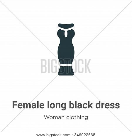 Female long black dress icon isolated on white background from woman clothing collection. Female lon
