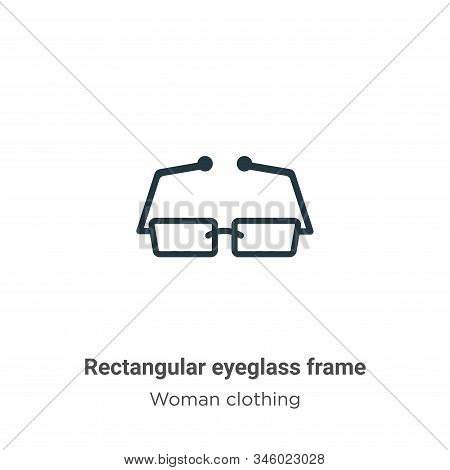 Rectangular eyeglass frame icon isolated on white background from woman clothing collection. Rectang