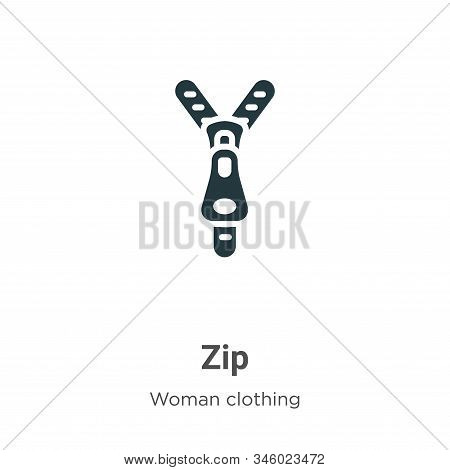 Zip icon isolated on white background from woman clothing collection. Zip icon trendy and modern Zip