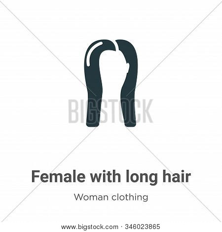 Female with long hair icon isolated on white background from woman clothing collection. Female with