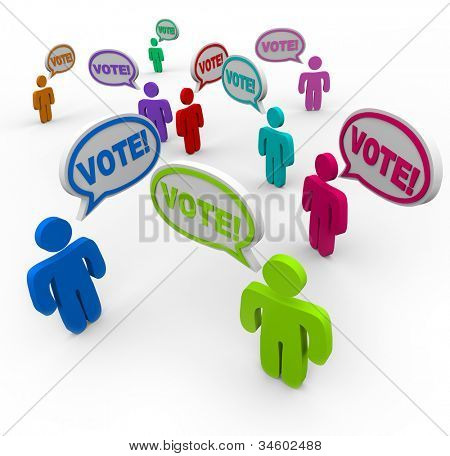 The word Vote in speech bubble clouds above the heads of many different people debating and campaigning for you to pick or choose them in an election