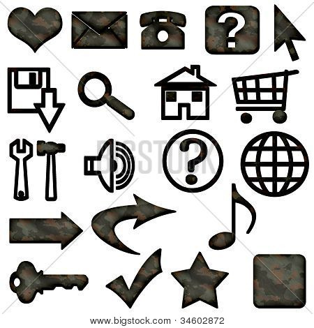 Dark Brown Camouflage Masculine Website Icons Buttons Navigation