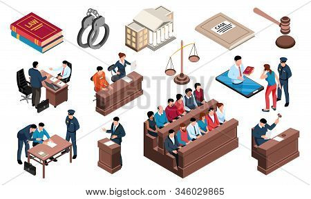 Crime Justice Law Isometric Set With Criminal Investigation Court Defendant Handcuff Attorney Jury P
