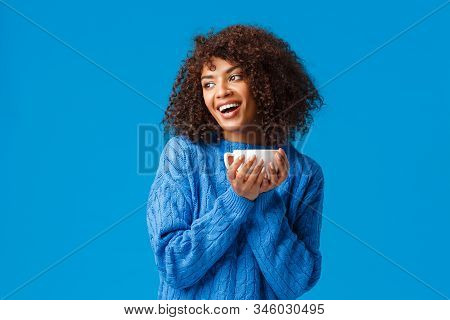 Girl Having Chat With Girlfriend While Drinking Coffee. Cheerful And Cute African-american Lovely Wo