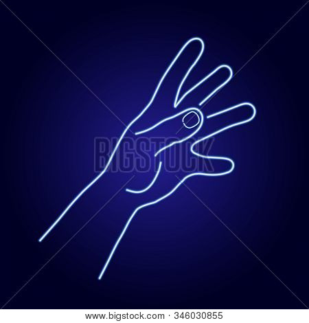 Hand Try To Reach Something From Glowing Blue Neon Luminescence Lines On Classic Blue Dark Backgroun