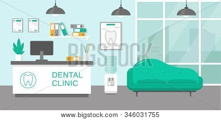 Dental Clinic Reception Room Or Hospital Holl Interior In Flat Style. Medicine Concept. Vector Illus