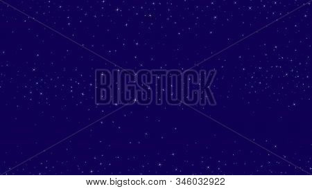 Stars Vector Seamless Pattern. Background With Starry Sky, Small Magic Sparkles, Shining Stars On Da