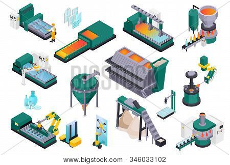 Glass Production Isometric Composition With Isolated Images Of Glassworks Industrial Facilities And