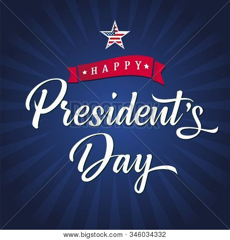 Presidents Day Usa Poster With Blue Stripes And Lettering. Happy Presidents Day Text For Greeting Ca