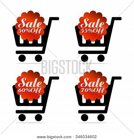 Red Sale Icons Set 50%, 55%, 60%, 70% Off With Shopping Trolley. Vector Illustration