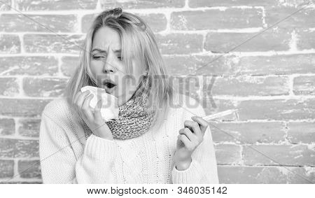 High Temperature Concept. Woman Feels Badly Ill. How To Bring Fever Down. Fever Symptoms And Causes.
