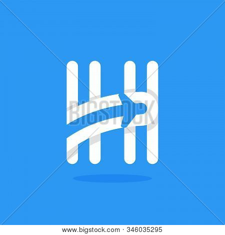 H Letter With Plane And Airline Inside. Vector Typeface For Flight Labels, Travel Headlines, Deliver