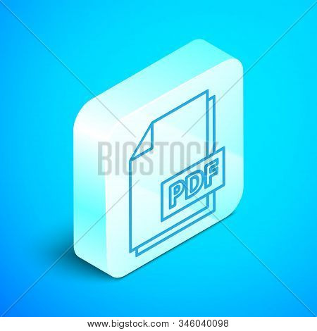 Isometric Line Pdf File Document. Download Pdf Button Icon Isolated On Blue Background. Pdf File Sym