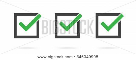 Green Check Mark Vector Isolated Set Of Icons In Box On White Background. Green Tick Check Mark Box