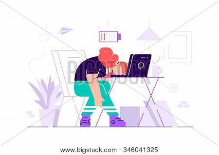 Professional Burnout. Long Working Day. Millennials At Work. Flat Vector Illustration. Exhausted You