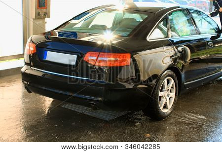 Novi Sad, Serbia: May 1, 2019 - Car Washing Cleaning With Hi Pressured Water And Shine After Cleanin
