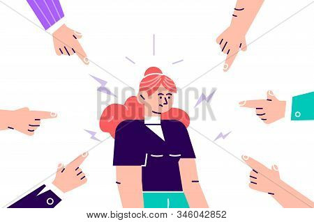Social Disapproval. Sad Or Depressed Young Woman Surrounded By Hands With Index Fingers Pointing At