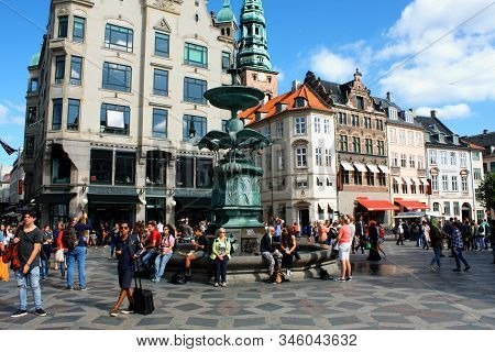 Copenhagen, Denmark - May 1, 2019 - The Stork Fountain Is Located On Amagertorv In Central Copenhage